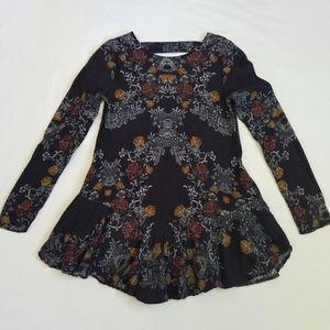 Free People tunic top peplum floral black XS